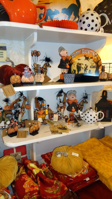 Bring your home up to the season with autumn linens and collectible Halloween decor from Bethany Lowe and Primitives by Kathy.