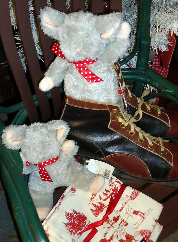 """""""Pipsqueek""""  the mouse is waiting for Santa too.  (He has a little pink tail.)  Very huggable by Bunnies by the Bay $12.95."""